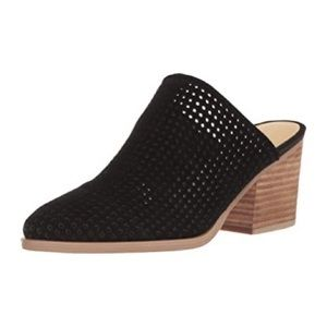 Marc Fisher Black Ripley Perforated Suede Mules